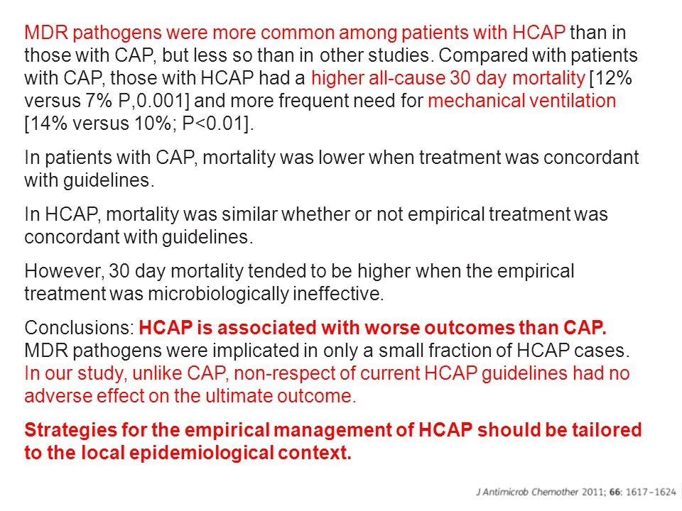 MDR pathogens were more common among patients with HCAP than in those with CAP, but less so than in other studies. Compared with patients with CAP, those with HCAP had a higher all-cause 30 day mortality [12% versus 7% P,0.001] and more frequent need for mechanical ventilation [14% versus 10%; P<0.01].